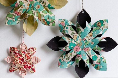 adornos de navidad estrellas de papel fciles Adornos de Navidad: estrellas de papel fciles