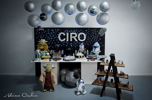 Impactante decoración de fiesta Star Wars002 Impactante decoración de fiesta infantil Star Wars