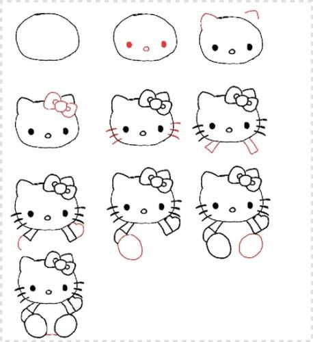 dibujar a hello kitty 458x500 Aprende a dibujar a Hello Kitty