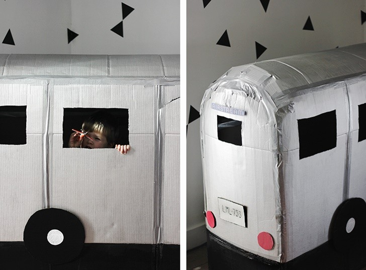 how to make a caravan out of cardboard