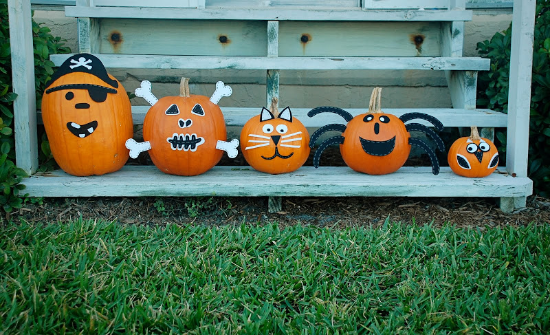 Decoracin alternativa para las calabazas de Halloween Fiestas y