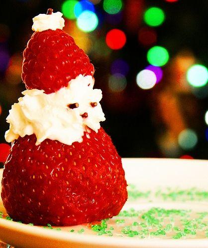 De postre… Fresitas de Papa Noel