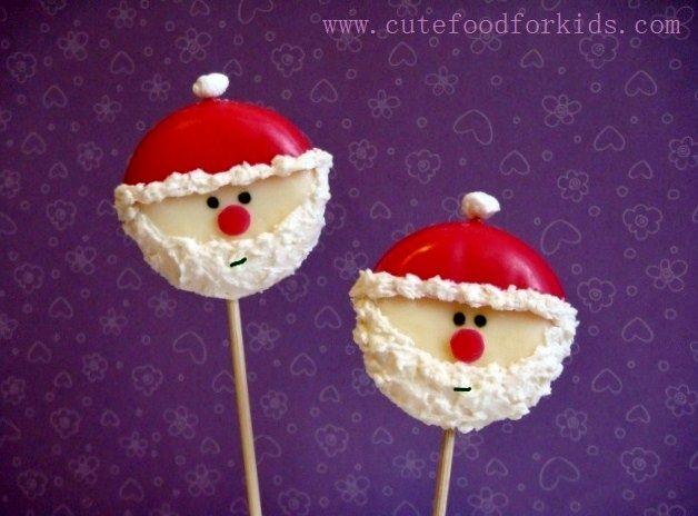"""Piruletas de queso al estilo """"Papá Noel"""""""