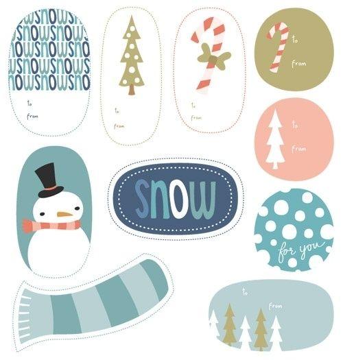 etiquetas regalos navidad en tonos pastel