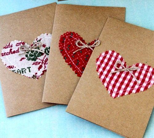 tarjetas con corazones de tela country