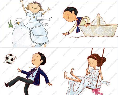 4 dibujos semipersonalizados para recordatorios comunion