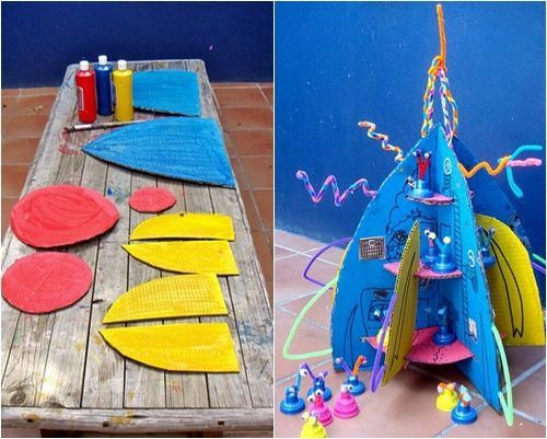 Juguete de cartón reciclado: un cohete muy divertido