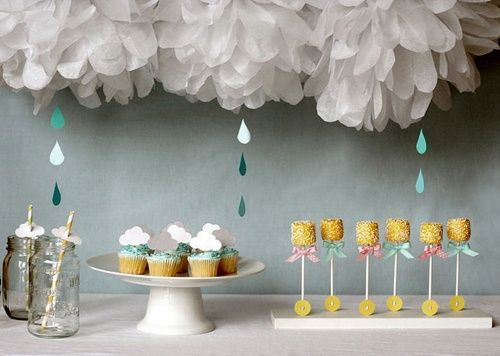 Delicada fiesta Baby Shower en celeste