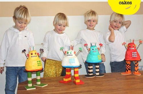 ¡Divertida fiesta con robot-tartas!