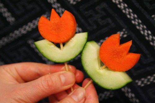 Pinchitos 'tulipán': verduras creativas para niños