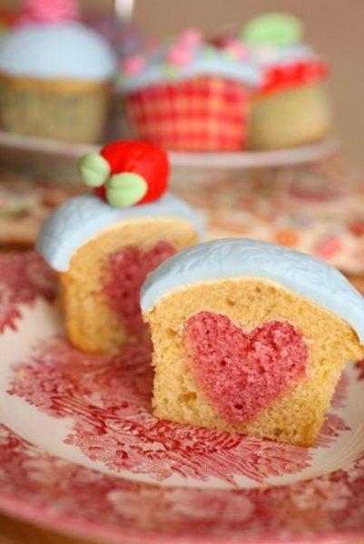 Un cupcake con corazón… ¡Qué lindo!