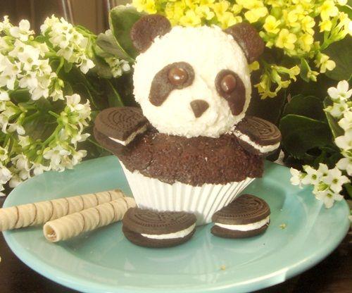 Cupcake Panda con galletas Oreo