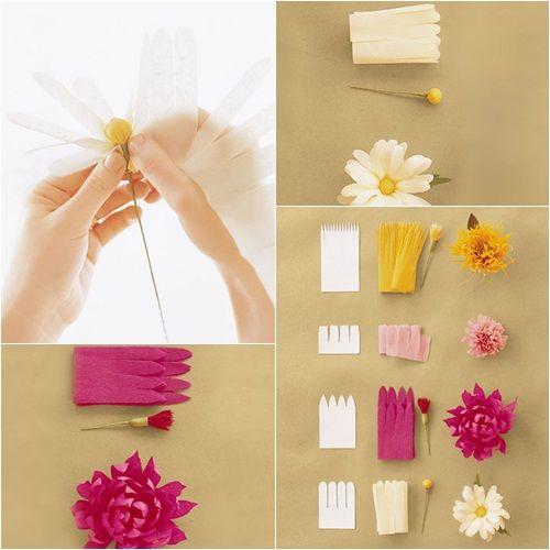 Flower Power Flores De Papel Crepe Para Hacer En Casa Fiestas Y