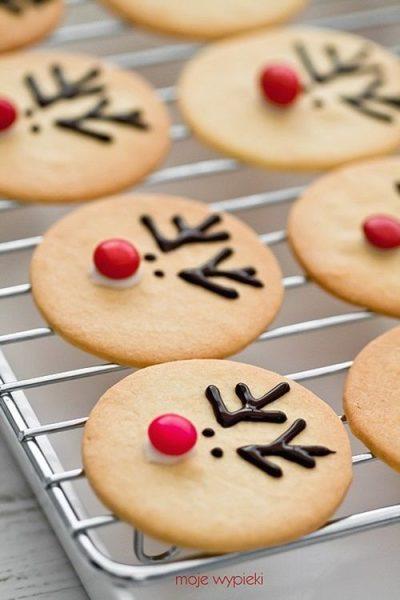 Decoración fácil de cookies para Navidad del reno Rudolph