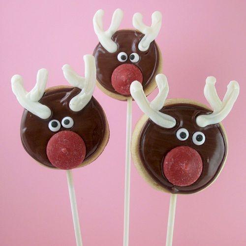 Dulces de Navidad: cookie pops con la cara de Rudolph el reno