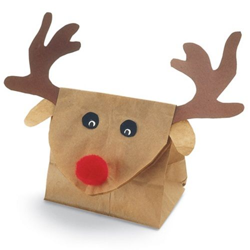 Envoltorio de regalo en papel kraft que imita al reno Rudolph