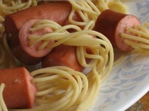 Receta original de salchichas con espaguetis