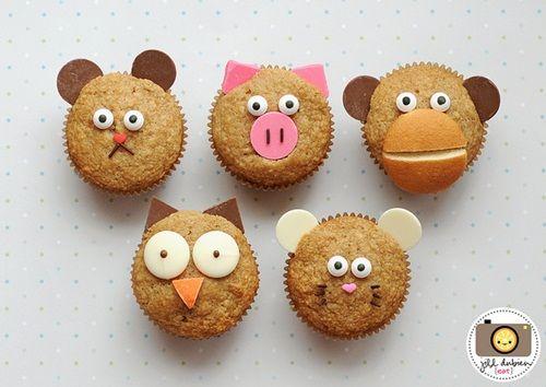 Divertidos muffins con caras de animales