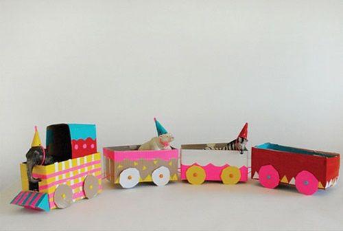 Manualidades fáciles con niños: tren de circo vintage