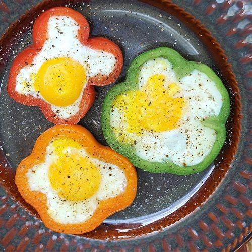 Receta de huevos fritos Flower Power
