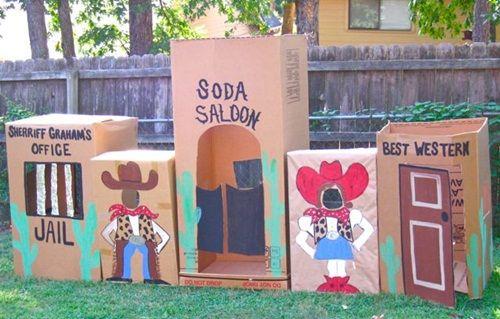 Ideas fáciles para una fiesta infantil del Oeste: poblado de cartón