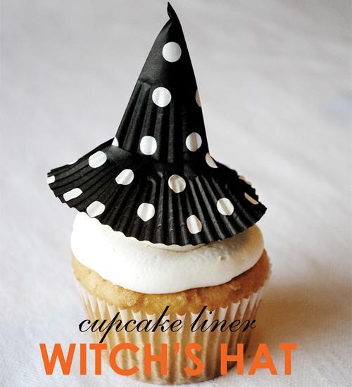 Decoración magdalenas para Halloween: un sombrero de bruja!