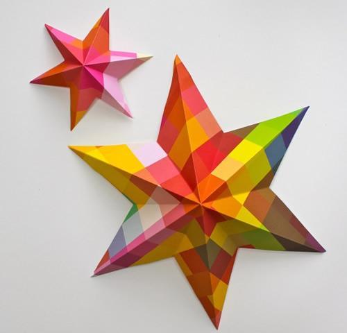 DIY: estrellas multicolores para colgar en Navidad