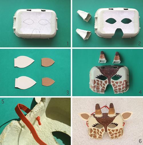 DIY Carnavalero: mascara de jirafa con un envase de cartón para huevos.