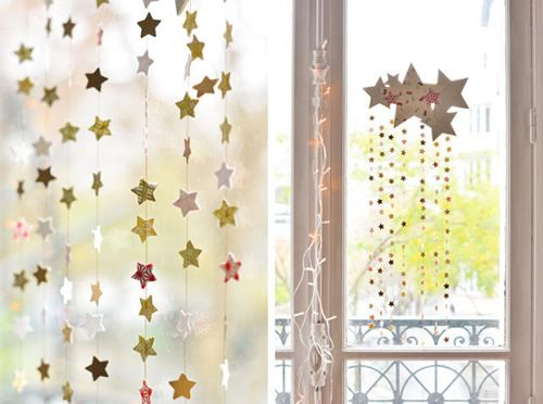 Decoración navideña con niños: bonito móvil de estrellas y estrellitas