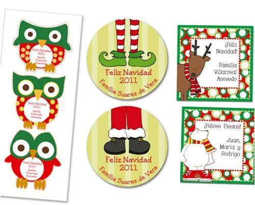Pegatinas para personalizar regalos de Navidad 1
