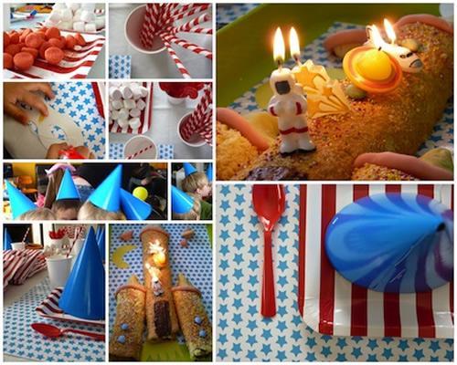 Fiesta infantil con tarta cohete hecha en casa