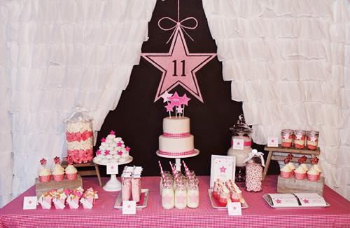 Una fiesta temática muy rosa.