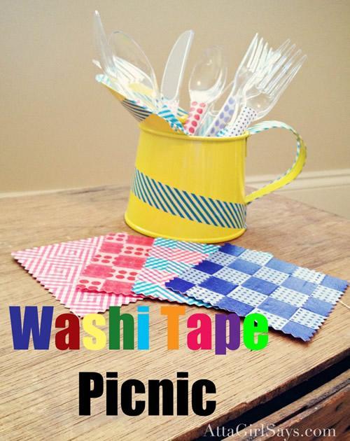Washi Tape para la decoración de los cubiertos del picnic