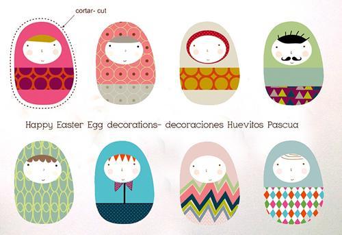 Huevos de Pascua imprimibles para decorar
