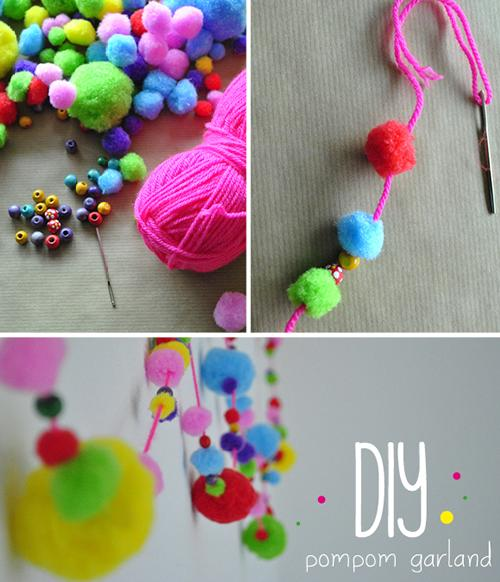 DIY, colorida guirnalda con pom poms de colores