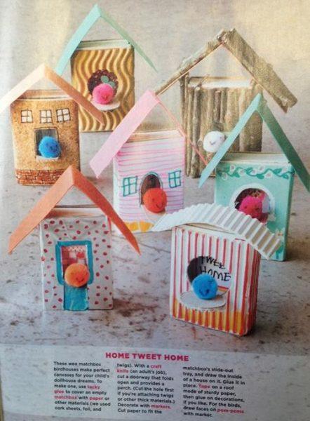 Manualidades con niños, casitas de cartón