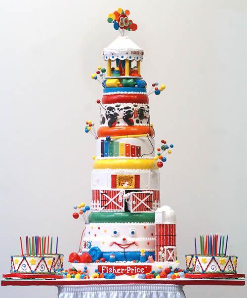 Espectacular tarta del 80 cumpleaños de Fisher-Price.