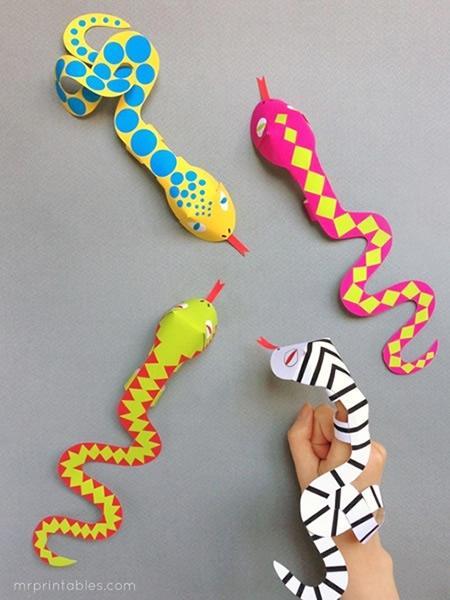 Serpientes para imprimir y convertir en títeres