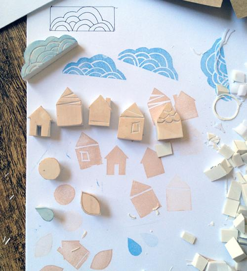 Manualidades, sellos de estampar hechos con gomas