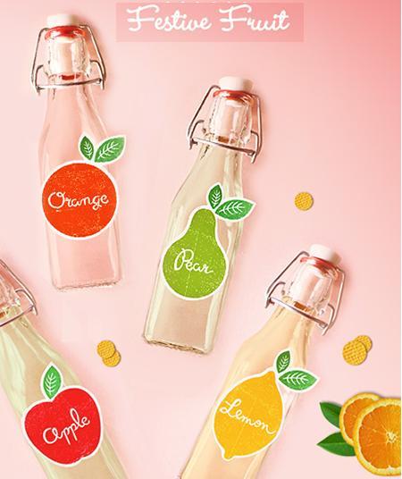 Imprimible, etiquetas para los zumos de una fiesta