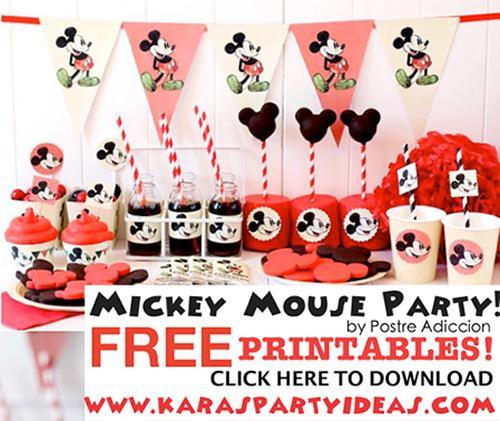 Imprimible para una fiesta infantil Disney de Mickey Mouse