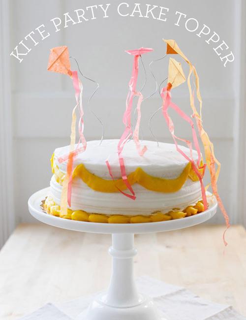 Decoración tarta de cumpleaños, cometas de colores