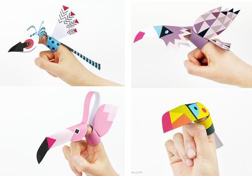 Imprimibles: 4 títeres de pájaros para el dedo