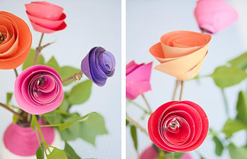 Manualidad con niños, crear una rosa de papel