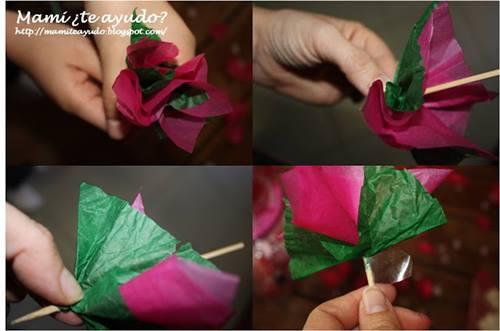Manualidades con niños como hacer flores fáciles de papel de seda 2