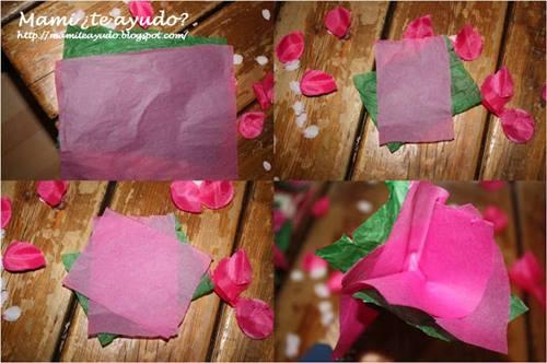 Manualidades con niños como hacer flores fáciles de papel de seda 3