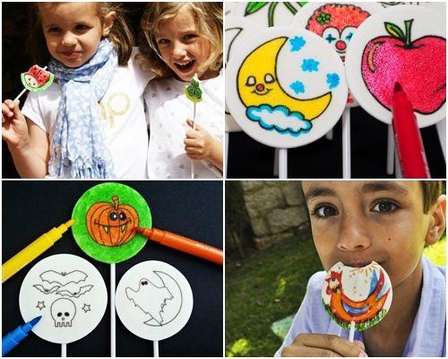 Nuevas golosinas para fiestas con dulces piruletas para pintar  8