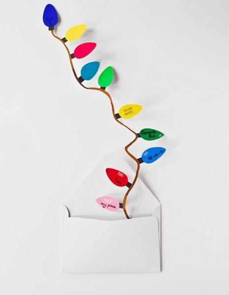 Invitaciones originales para fiestas con guirnalda de bombillas DIY 2