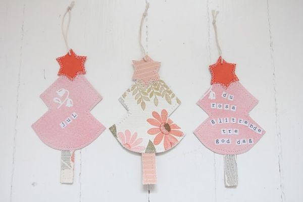 Manualidades con niños: modernos árboles de Navidad en tela