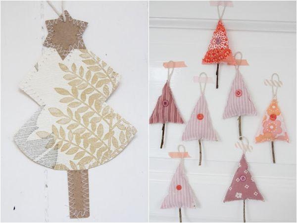 Manualidades con niños modernos árboles de Navidad en tela 2